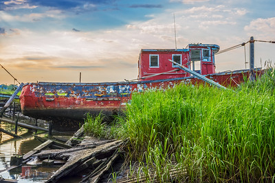 Red Abandoned Boat