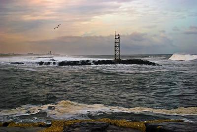 """Belmar Seascape"" A scenic look along the shoreline and jetty in Belmar, New Jersey."