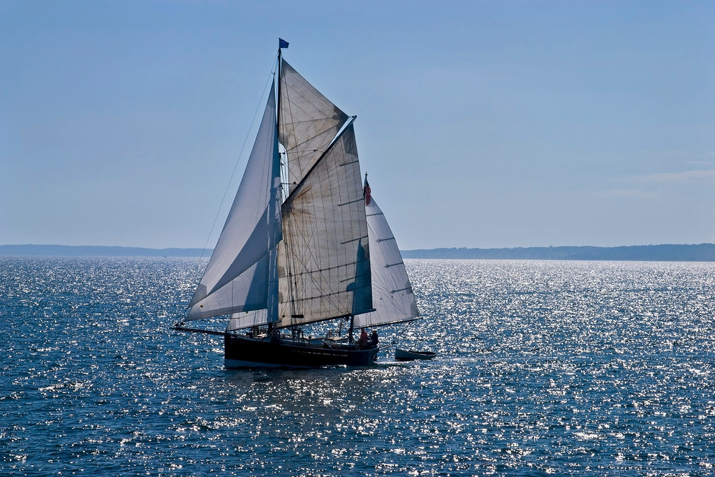 """Sunshine Sailboat"" A beautiful sailing vessel off the coast of Martha's Vinyard off Massachusetts."