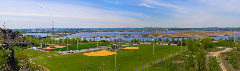 """Laural Hill Park Panorama"" A panoramic view of Hudson County Park at Laurel Hill as seen from ""Snake Hill"" The Hackensack River is in the background."