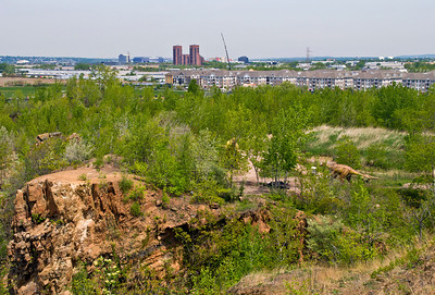 """Cliff, Snake Hill"" Cliff remnants of Snake Hill and a view of Secaucus and the XChange Place condo complex."