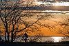 """Sunset Ride""<br /> A cyclist silhouetted against the sunset on Sandy Hook, along the Jersey shore."