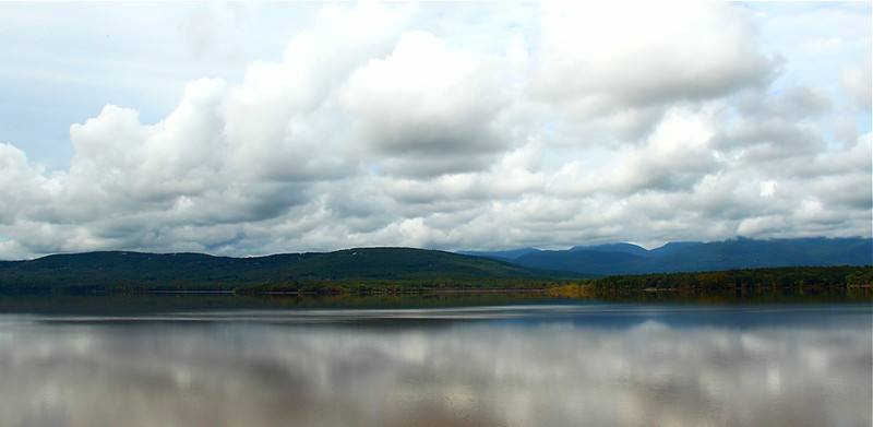 Ashokan reservoir with the Catskill Mountains in the background. One of many reservoir's that run 100 miles + via tunnels to quench the thirst of NYC.