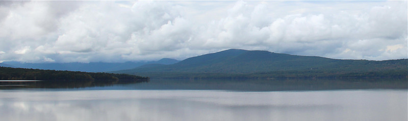 Ashokan Reservoir lower basin with the Catskill mountains in the background.