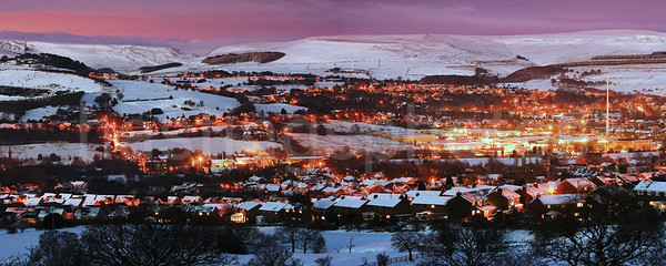 Glossop in winter, Derbyshire