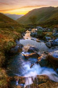 Hayeswater Gill sunset, Cumbria