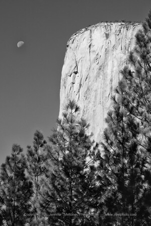 Moon Setting Near El Capitain