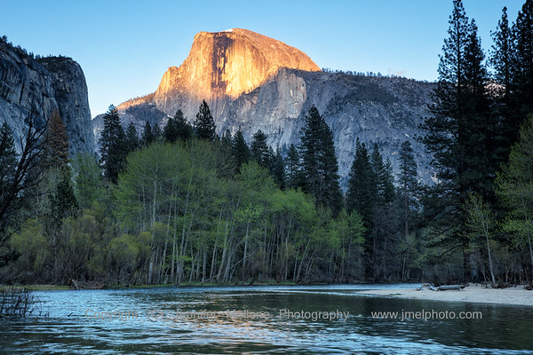 Last Light on Half Dome, Washington Column, and Merced River - Horizontal