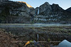Yosemite Upper and Lower Fall - Sun Comes Up, Ground Fog Goes Down