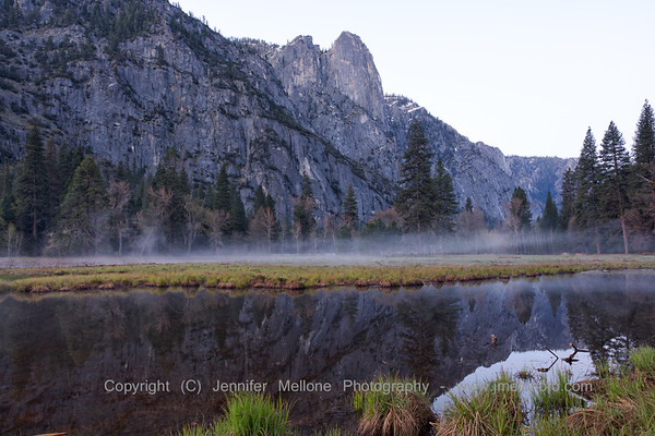 Pre-Sunrise Ground Fog and Sentinel Rock Reflections