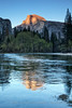 Last Light on Half Dome, Washington Column, and Merced River - Vertical