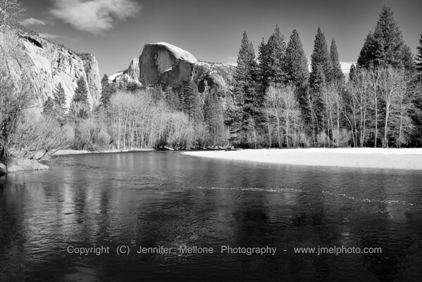 Half Dome Merced River Winter - Black and White