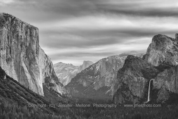 Tunnel View with Stratus Clouds in the Winter - Black and White