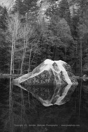 Winter Rock Reflections - Black and White