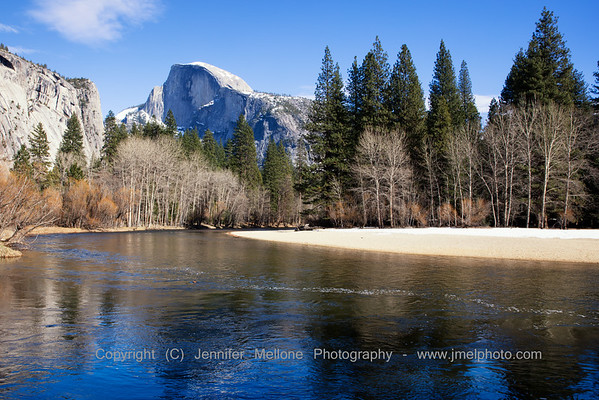 Half Dome Merced River Winter - Color
