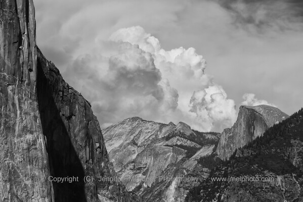 Tunnel View and Thunder Clouds - black and white