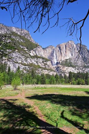 Upper Yosemite Falls from Swinging Bridge Area