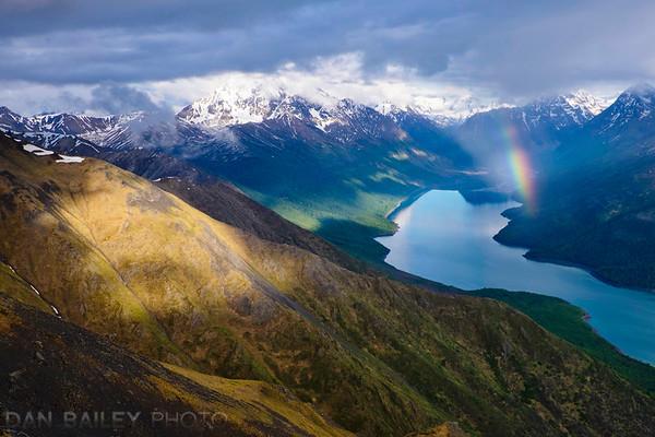 Rainbow over Eklutna Lake, seen from the Pepper Peak Ridge, Chugach Mountains, Alaska