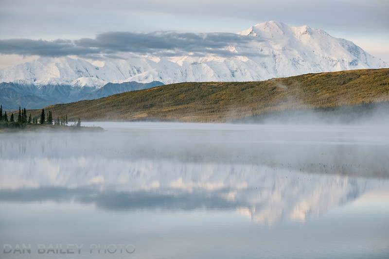 Morning view of Mt. McKinley and fog over Wonder Lake.