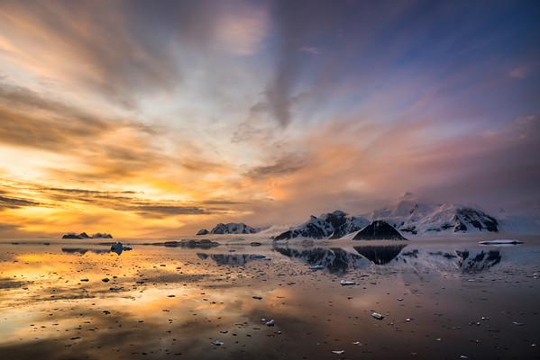 Marguerite Bay and Mount Liotard under the midnight sun, Antarctica