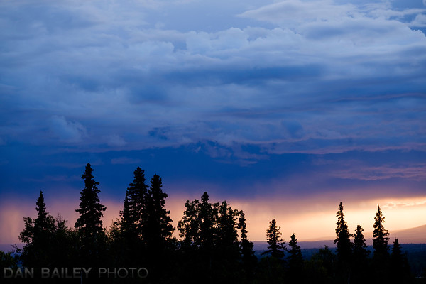 Sunset and dramatic clouds over the Alaska Range, seen from Talkeetna