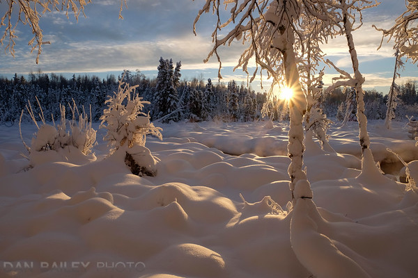 Winter landscape along the Chester Creek Trail, Anchorage, Alaska