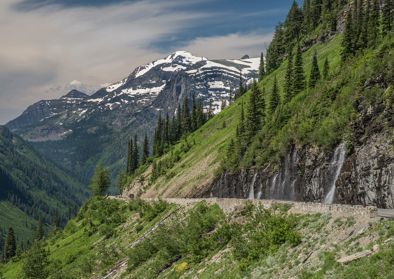 Going to the Sun Road with waterfall