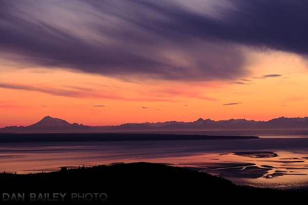 Sunset over the Cook Inlet and the Tordrillo Mountains, from Anchorage, Alaska.
