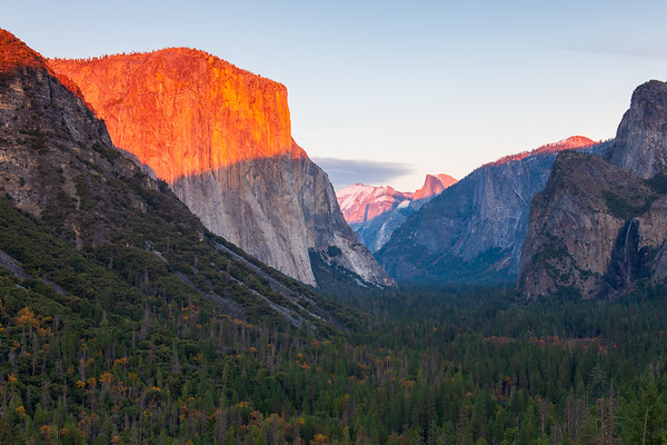 El Cap and Half Dome at Sunset