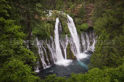 Rushing whitewater over Burney Falls