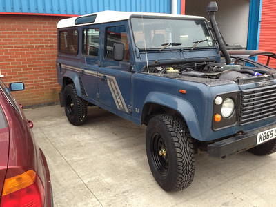 Another view of the Defender outside Causeway 4x4, Bridgwater, Somerset.