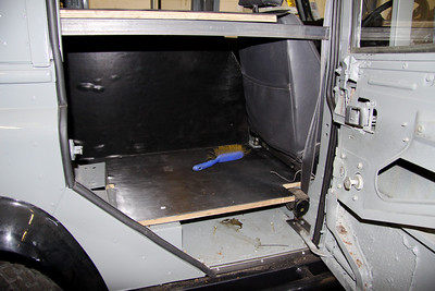 Space behind the driver's seat where the fridge/freezer will be fitted. A flap in the sleeping platform hinges up to allow access to the top of the fridge.