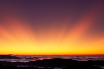 Twilight-Crepuscular Rays-Sunbeams-Nantahala National Forest