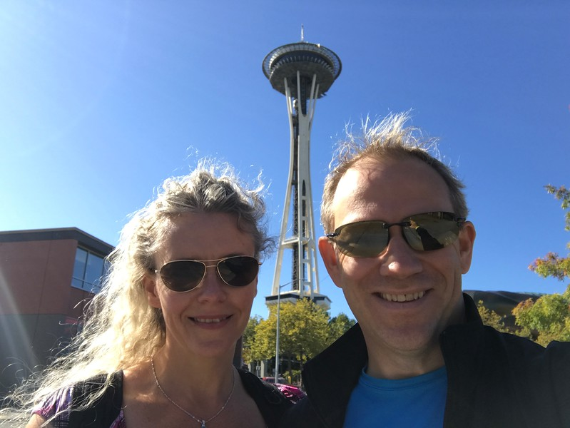 """For sure a highlight of our Seattle city tour  was our visit to the top of the """"Space Needle"""", Seattle's most recognized landmark that provided Beautiful views of the city as you'll see in the next 2 pics."""
