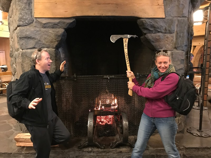 "While in Mt Hood we visited the ""Timberline Lodge"" which is a popular ski resort & National Historic Landmark... and, some scenes from ""The Shining"" were done there so of course we had to do the reenactment!! :-)"
