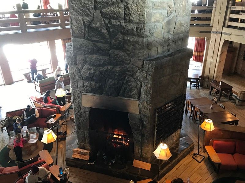 Touring around the Lodge and seeing the beautiful woodwork everywhere and the comfy fireplaces like this helped us figure out pretty quick was this is a popular spot! :-)