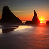 Sunset and the Sea Stacks on The Oregon Coast From Face Rock Beach Bandon Oregon