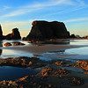 Evening Light and The Sea Stacks on Face Rock Beach in Bandon Oregon on The Oregon Coast