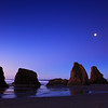 Sunrise and Moon with Sea Stacks on The Oregon Coast From Face Rock Beach Bandon Oregon