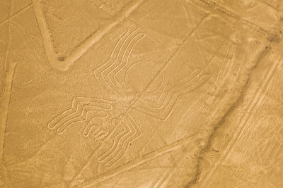 """Aerial view of the """"Spider"""" at the mysterious Nazca lines in the pampa plateau desert in Peru."""