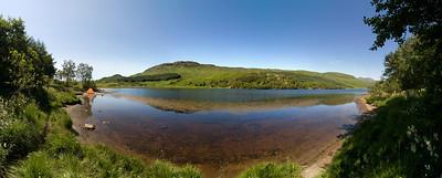 24.07.2011, Schottland, -Loch Lubhair- im -Loch Lomond & the Trossachs National Park-. Panoramaaufnahme.