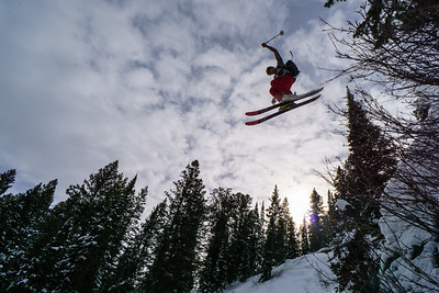 Anatole Tuzlak going big in the woods near Blind Hollow Yurt in the Bear River Range, northern Utah.