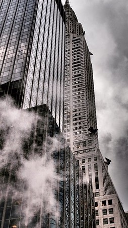 Chrysler Building with Gargoyles and Steam - Famous Buildings and Landmarks of New York City