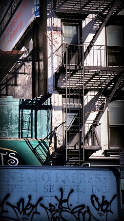 Elemental City - Fire Escape Graffiti Brownstone - Old Buildings of New York City