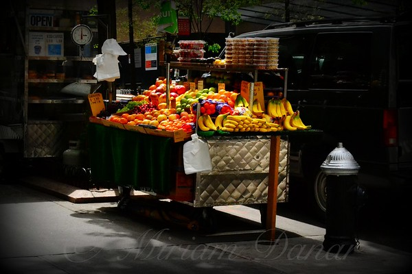 Fruit Vendor and Fire Hydrant - New York City Street Scene