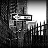 One Way Sign - New York City Street Scene