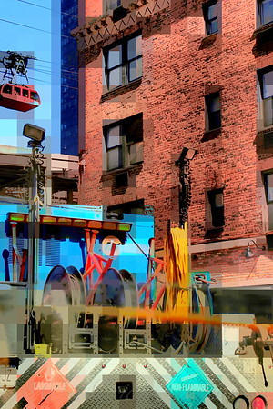 Little Red Tram with Industrial Details - New York City Street Scene