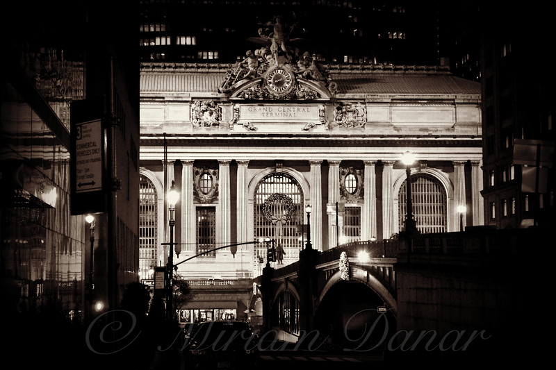 Grand Central as seen from Pershing Square - Famous Buildings and Landmarks of New York City - sepia