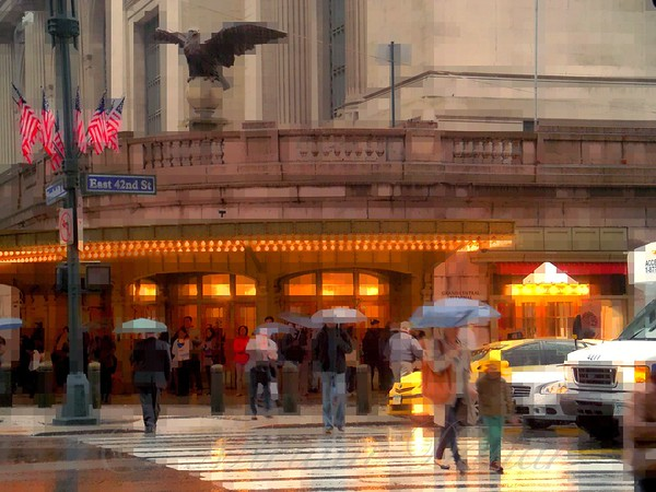 Grand Central in the Rain - Mother and Child - Famous Buildings and Landmarks of New York City