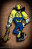 The Higginsville Husker - Now that's a mascot you can be proud of!  No meek little birds here, just a tough mean looking guy with a spiked club!